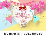 paper art of happy birthday... | Shutterstock .eps vector #1052589368