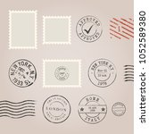 set of postal stamps and... | Shutterstock .eps vector #1052589380