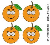 cartoon oranges with emotions.... | Shutterstock .eps vector #1052591084