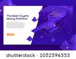 isometric crypto mining banner... | Shutterstock .eps vector #1052596553