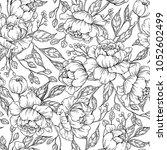peony flower seamless pattern... | Shutterstock .eps vector #1052602499