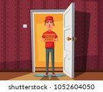 pizza delivery guy handing... | Shutterstock .eps vector #1052604050