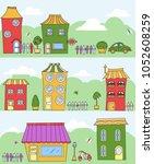 pattern town   cartoon houses... | Shutterstock . vector #1052608259