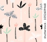 seamless pattern with hand... | Shutterstock .eps vector #1052609468