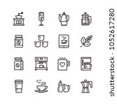 coffee icons set | Shutterstock .eps vector #1052617280