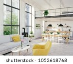 3d rendering. loft apartment... | Shutterstock . vector #1052618768