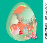 vector easter day paper cut.for ... | Shutterstock .eps vector #1052620070