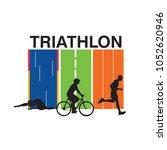triathlon illustration with... | Shutterstock .eps vector #1052620946