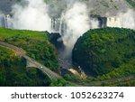 victoria falls in zimbabwe and... | Shutterstock . vector #1052623274