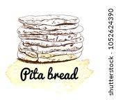 arab pita  pitta bread. sketch. ... | Shutterstock .eps vector #1052624390