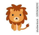 Stock vector adorable little lion in flat style 1052628293