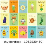 set of cartoon cards with...