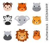baby shower cute safari animals.... | Shutterstock .eps vector #1052646449