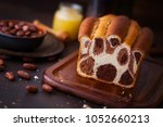 leopard pattern chocolate bread ... | Shutterstock . vector #1052660213