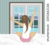 woman stretching in bed after... | Shutterstock .eps vector #1052662136