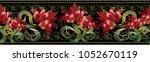 red 3d flowers seamless border... | Shutterstock .eps vector #1052670119