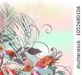 floral tropical vector... | Shutterstock .eps vector #1052680106