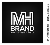 letter m and h on black... | Shutterstock .eps vector #1052680118