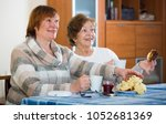 positive female pensioners... | Shutterstock . vector #1052681369