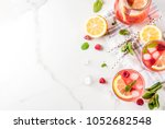summer refreshing drinks  fruit ... | Shutterstock . vector #1052682548