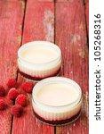lemon possets with raspberries... | Shutterstock . vector #105268316
