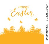 orange background with easter... | Shutterstock .eps vector #1052683424