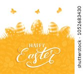 orange background with easter... | Shutterstock .eps vector #1052683430