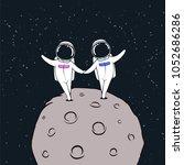 space love in cosmos.astronaut... | Shutterstock .eps vector #1052686286