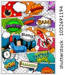 comic book page divided by... | Shutterstock .eps vector #1052691194