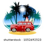 vector cartoon camper.... | Shutterstock .eps vector #1052692523