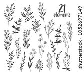 hand drawn vector set with... | Shutterstock .eps vector #1052697149