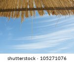 Straw Roof Of Beach Umbrella...