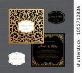 wedding invitation or greeting...   Shutterstock .eps vector #1052712836