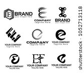 logo collections e. logo design ... | Shutterstock .eps vector #1052713118
