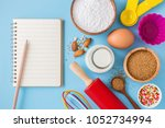 baking ingredients and utensils ... | Shutterstock . vector #1052734994