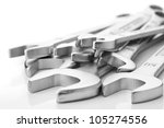 wrench and tools on white background - stock photo
