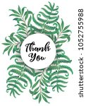 botanic card with fern frond... | Shutterstock .eps vector #1052755988