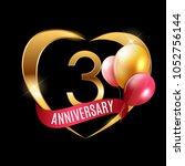 template gold logo 3 years... | Shutterstock .eps vector #1052756144