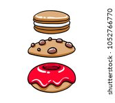 Colorful Baked Sweets Icons Set....