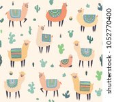 seamless pattern with llama ... | Shutterstock .eps vector #1052770400