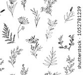 hand drawn seamless pattern of... | Shutterstock .eps vector #1052781239