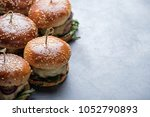 homemade juicy burgers with... | Shutterstock . vector #1052790893