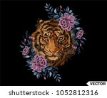embroidery colorful floral... | Shutterstock .eps vector #1052812316