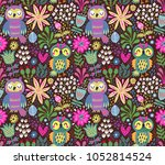 seamless pattern with owls | Shutterstock .eps vector #1052814524