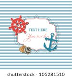 scrap nautical card with frame  ... | Shutterstock .eps vector #105281510