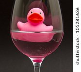 Pink Rubber Duck In A Wineglas...