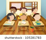 illustration of a kids studying ... | Shutterstock .eps vector #105281783