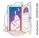 open door into a dream....   Shutterstock .eps vector #1052831186