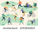 active young people. healthy... | Shutterstock .eps vector #1052832824