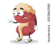 cartoon scared kidney mascot in ... | Shutterstock .eps vector #1052863580